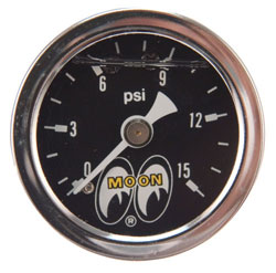 "0-15 PSI 1-1/2"" Liquid Filled Fuel Pressure Gauge"