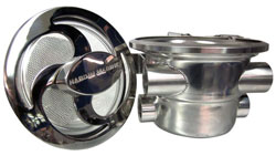 "Polished Offshore Sea Strainer - 1"" NPT Dual Inlets/Outlets- With Polished Swirl Lid"