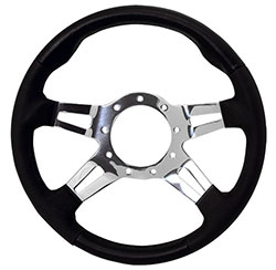 "13"" Black Leather/ Century Grips / Polished Spoke F9 Steering Wheel"