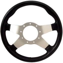 "13"" Black Grip / Silver Solid Spokes F9 Steering Wheel"