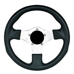 "11-1/2"" Black Grip / Silver Spoke Formula J Steering Wheel"
