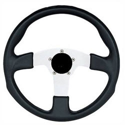 "13-1/2"" Black Grip / Silver Spoke Formula GT Steering Wheel"