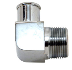 "90 Degree Chrome Plated Brass 3/4"" NPT Male To 3/4"" Hose Fitting"