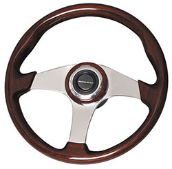 "Mahogany Polished Steering Wheel, 14.1"" Diamter"