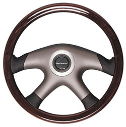 "Polished Mahogany Steering Wheel, 14.1"" Diameter"