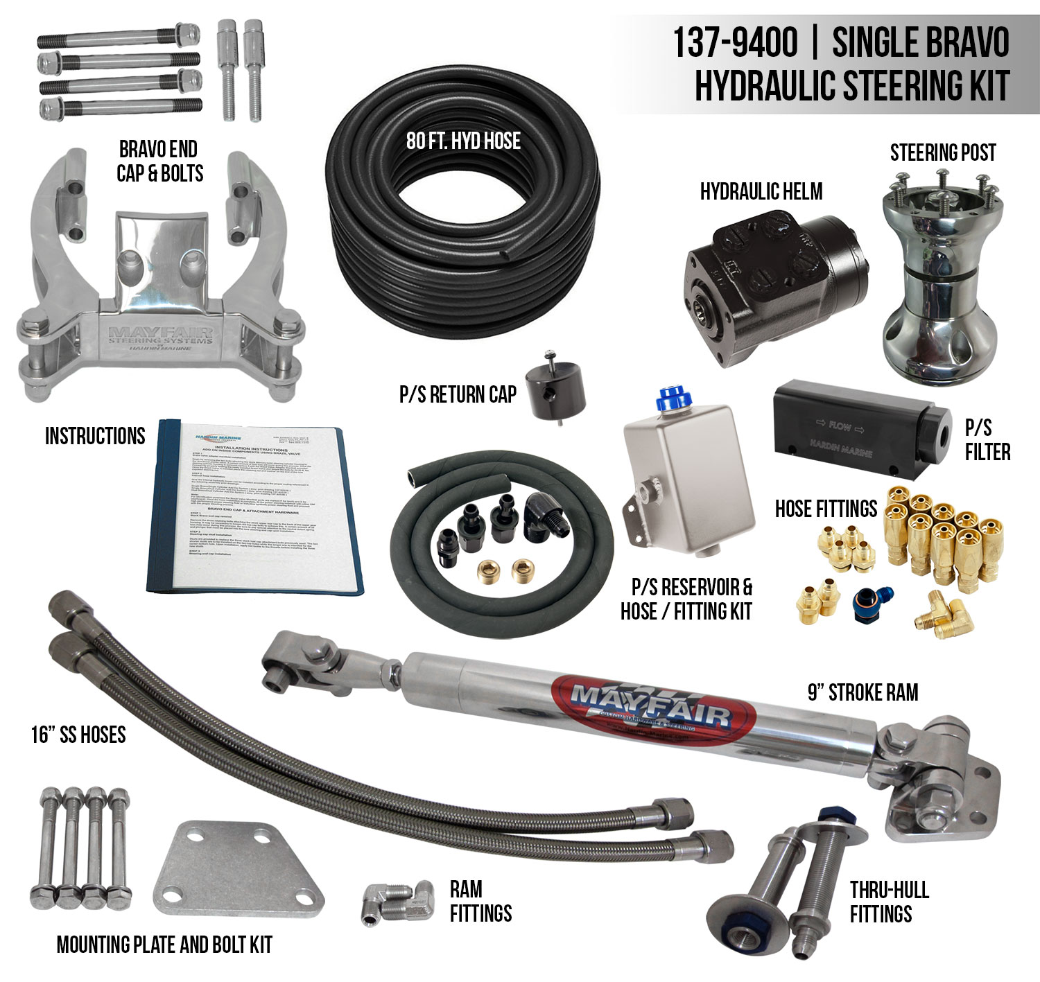 Mayfair Single Bravo Ram Full Hydraulic Steering Kit Cp Performance