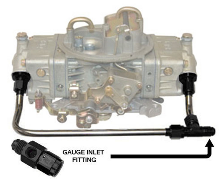 555 BO 1672 WGa polished stainless steel 6 an dual feed fuel line with gauge outlet