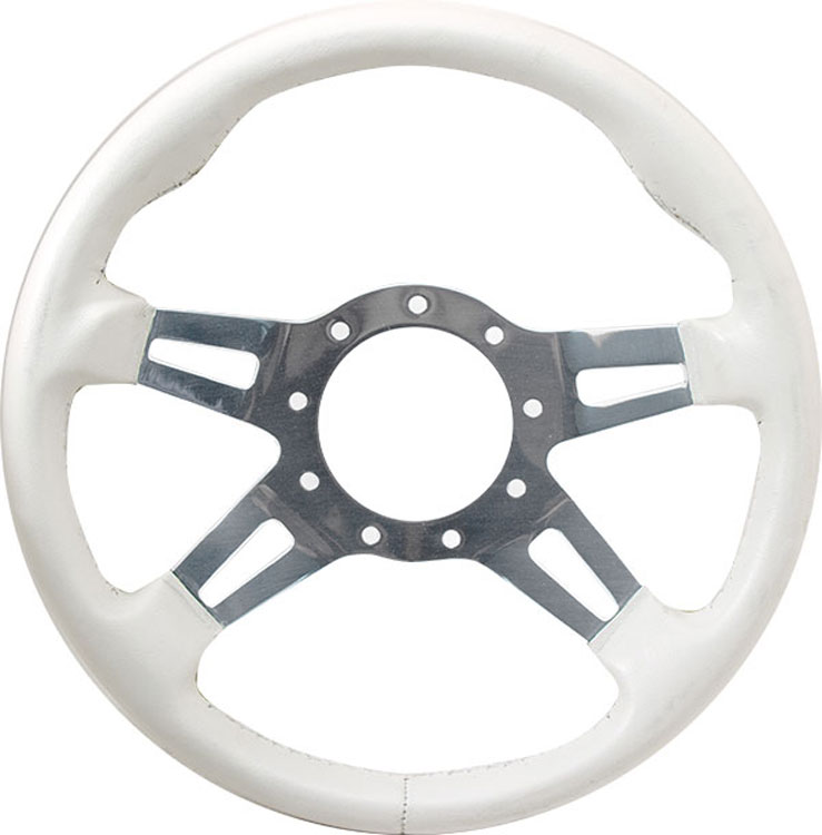 "13"" White Grip / Polished Spoke F9 Split Spoke Steering Wheel"