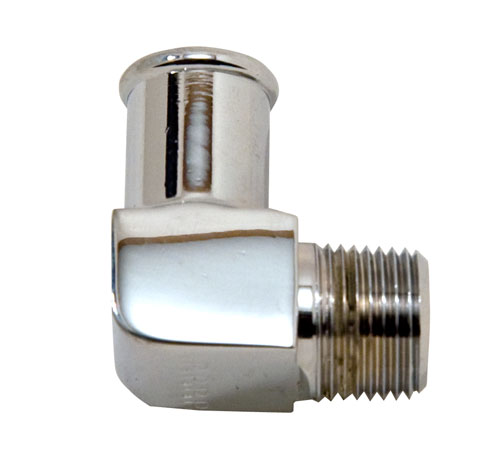 "90 Degree Chrome Plated Brass 3/8"" NPT Male To 5/8"" Hose Fitting"