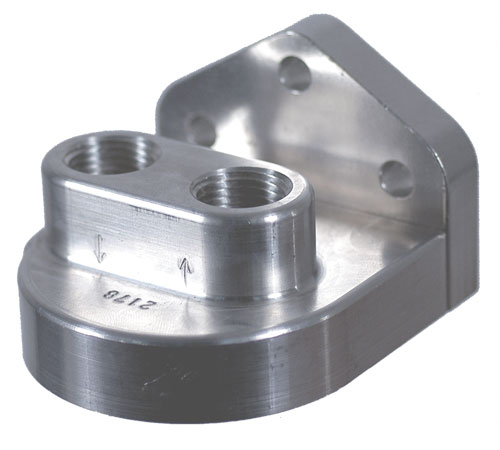 "Billet Remote Filter Bracket with 1/2"" NPT Inlet/Outlet - Polished"