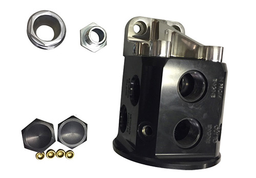 Black Remote Bulkhead Mount ​Thermostatically Controlled Engine​ Oil Filter Mount