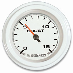 0-15 PSI White Boost Gauge 2-1/16""