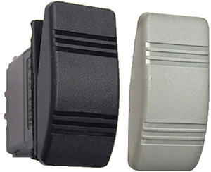 Contura Iii Non-Illuminated Weather Resistant Rocker Switch, Mom On/Off/Mom On, Black & Gray