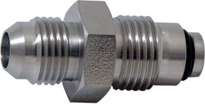 SS Straight Shuttle Valve Fitting -6 Male X 16MM X 1.50MM