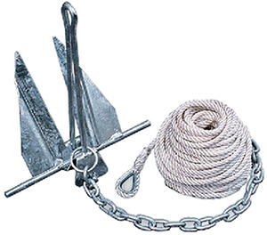 Tie Down Engineering Quik-Set Hooker Anchor Kit Includes Anchor, Anchor Line, Chain and (2)  Shackles