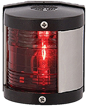 Aqua Signal 25300 Series 25 Classic 12v Navigation Light For Power Or Sail Boats Up To 39', Port Side Mount, Black