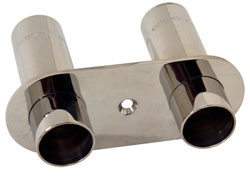 "Dual 3/4"" NPT Polished Stainless Water Dump Fitting"