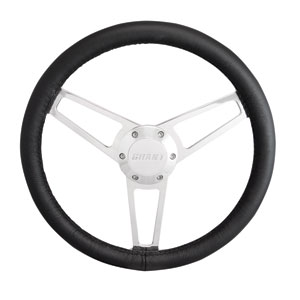 "14"" Steering Wheel Billet with Premium Black Leather Wrap"