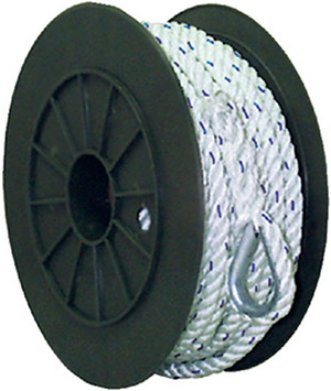Premium 3-Strand Twisted Nylon Anchor Line<BR>White With Blue Tracer, 1/2&quot; x 100'