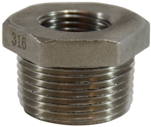 "Stainless Steel 1"" NPT Male to 3/4"" NPT Female Reducer Adapter"