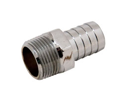 "Chrome Plated Brass 3/4"" NPT Male To 3/4"" Hose Fitting"