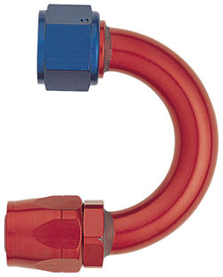 Red/Blue 180 Degree Non-Swivel Hose End