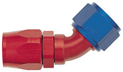 Red/Blue 45 Degree Double-Swivel AN Hose End