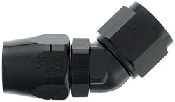 Black 45 Degree Double-Swivel Forged AN Hose End
