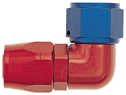 Red/Blue 90 Degree Double-Swivel Forged AN Hose End