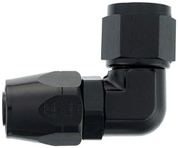 Black 90 Degree Double-Swivel Forged AN Hose End