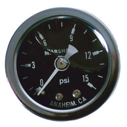 "1-1/2"" 0-15 PSI Mini Liquid Filled Fuel Pressure Gauge"