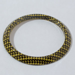 "2-5/8"" Yellow Carbon Fiber Pattern Flat Bezel"
