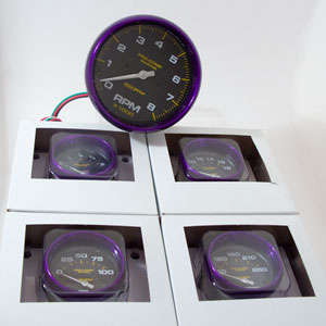 Purple Rim Carbon Fiber Face Autometer Monster Size 5 Gauge Kit