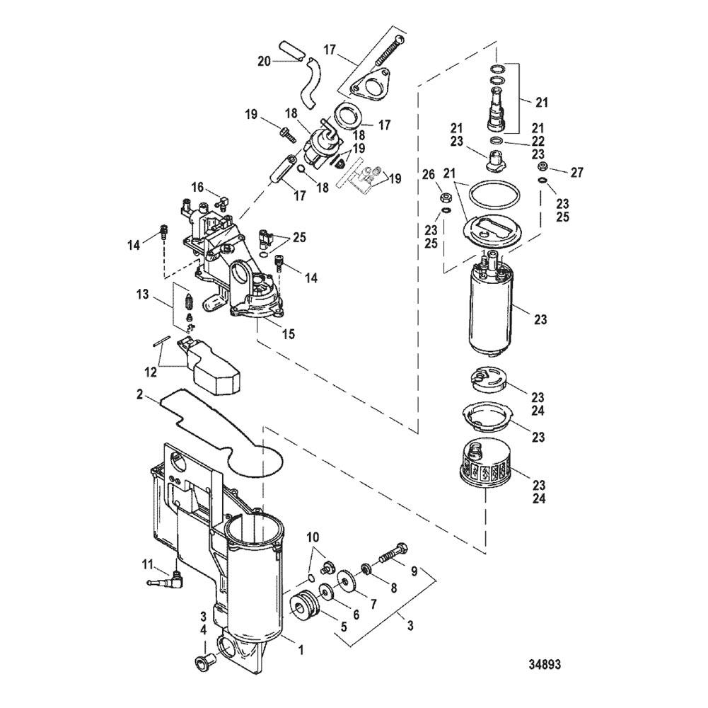 225 EFI Pro Max and Super Mag - Serial 0G857000 Thru 0T429939 - Vapor  Separator Components