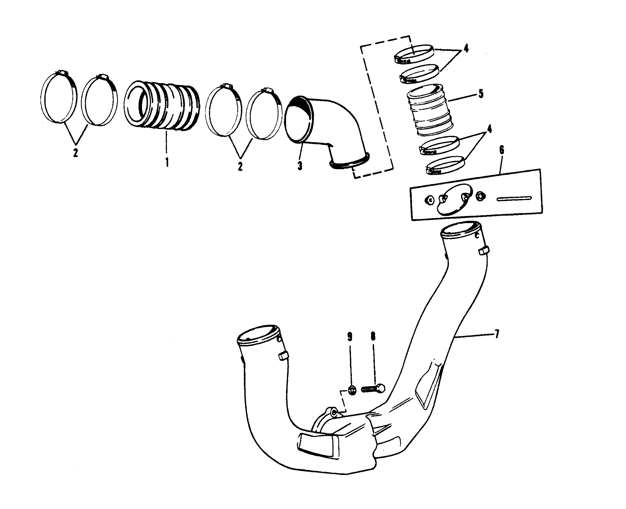 cp performance exhaust system SBC 350 Diagram section drawing hover or click to view larger