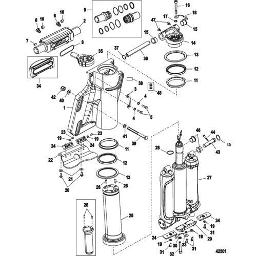 Steering Cylinder Cover Mercury Verado Power Trim 893405T