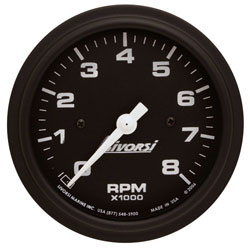 "Livorsi 3-3/8"" Mega or Race Series 0-6000 RPM Tachometer with Plug-In Connectors"