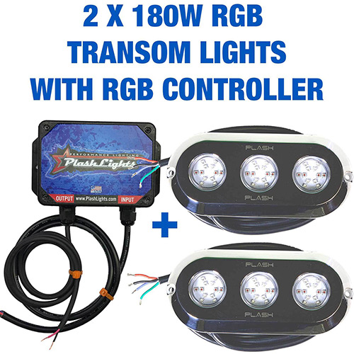 Pair of Plash 180W RGB Underwater Transom Lights with Controller